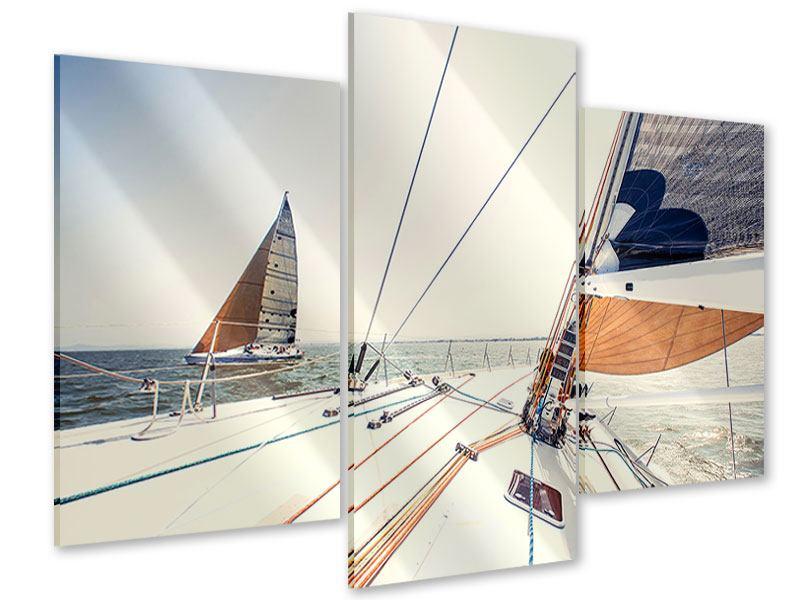 Acrylglasbild 3-teilig modern Segelyacht