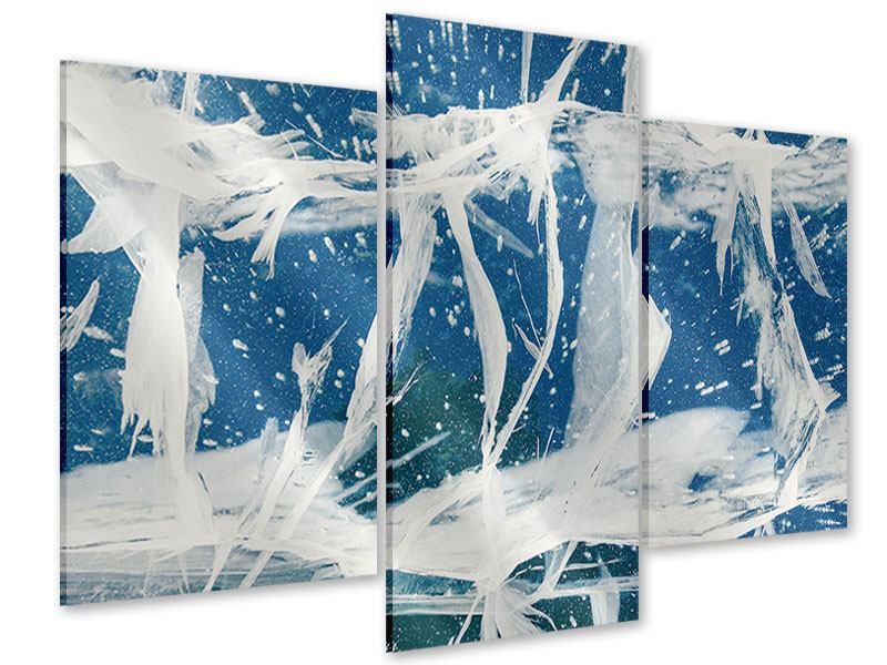 Acrylglasbild 3-teilig modern Eiskristalle