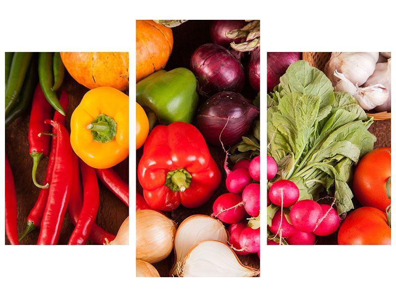 Acrylglasbild 3-teilig modern Gemüsefrische