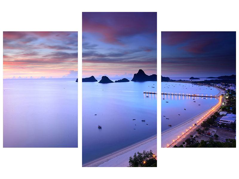 Acrylglasbild 3-teilig modern Ano Manao Bucht