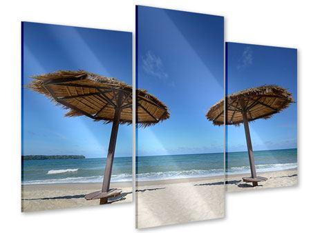 Acrylglasbild 3-teilig modern Umbrellas