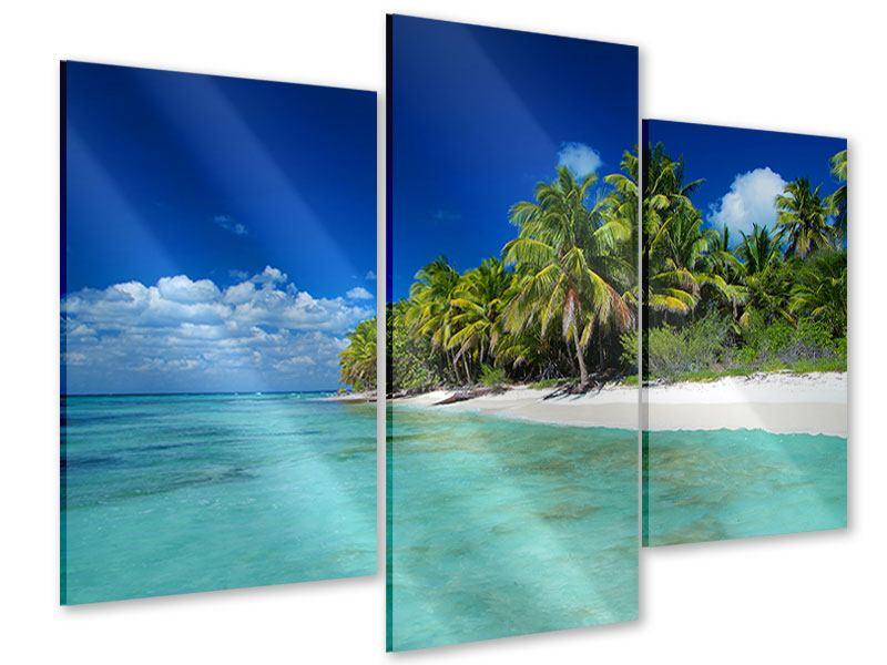 Acrylglasbild 3-teilig modern Die Trauminsel