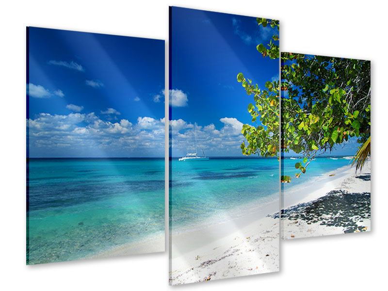 Acrylglasbild 3-teilig modern Happy Beach