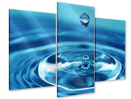 Acrylglasbild 3-teilig modern Der Wassertropfen