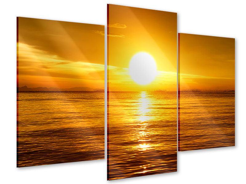 Acrylglasbild 3-teilig modern Traumhafter Sonnenuntergang
