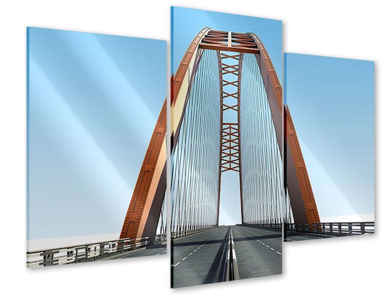Acrylglasbild 3-teilig modern Brückenpanorama