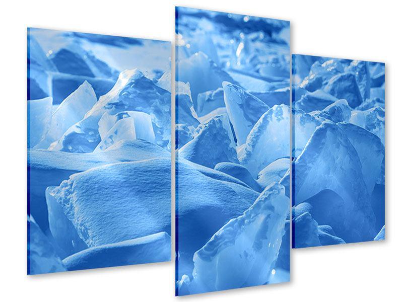Acrylglasbild 3-teilig modern Eis des Baikalsees