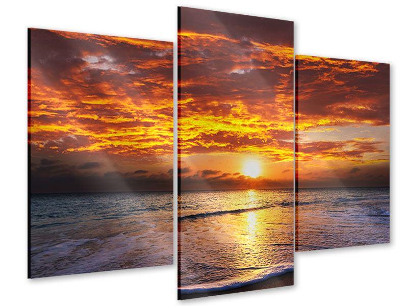 Acrylglasbild 3-teilig modern Entspannung am Meer