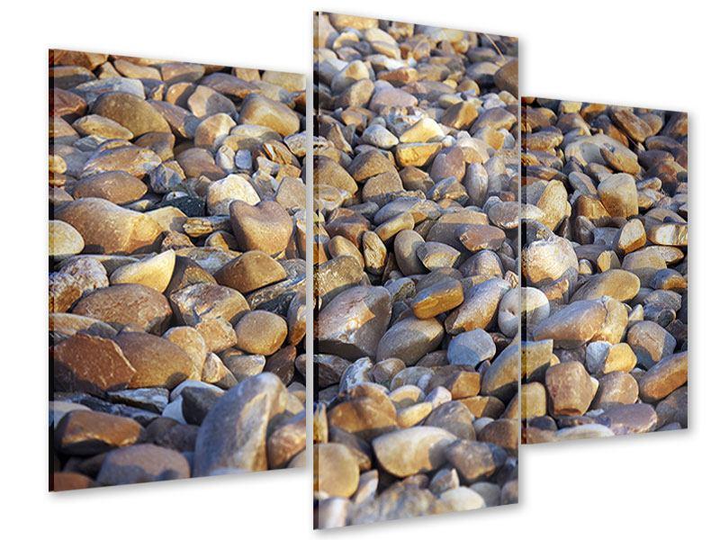 Acrylglasbild 3-teilig modern Strandsteine