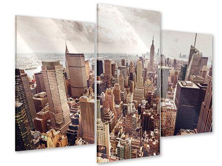 Acrylglasbild 3-teilig modern Skyline Über den Dächern Manhattans