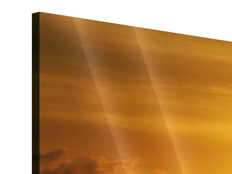 Acrylglasbild 3-teilig modern Sonnenuntergang See