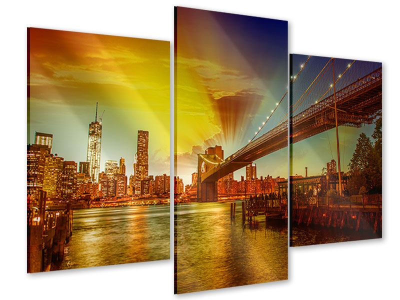 Acrylglasbild 3-teilig modern Skyline Brooklyn Bridge NY