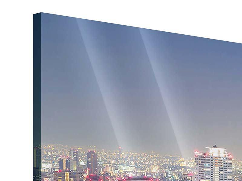Acrylglasbild 3-teilig modern Skyline Osaka bei Sonnenuntergang