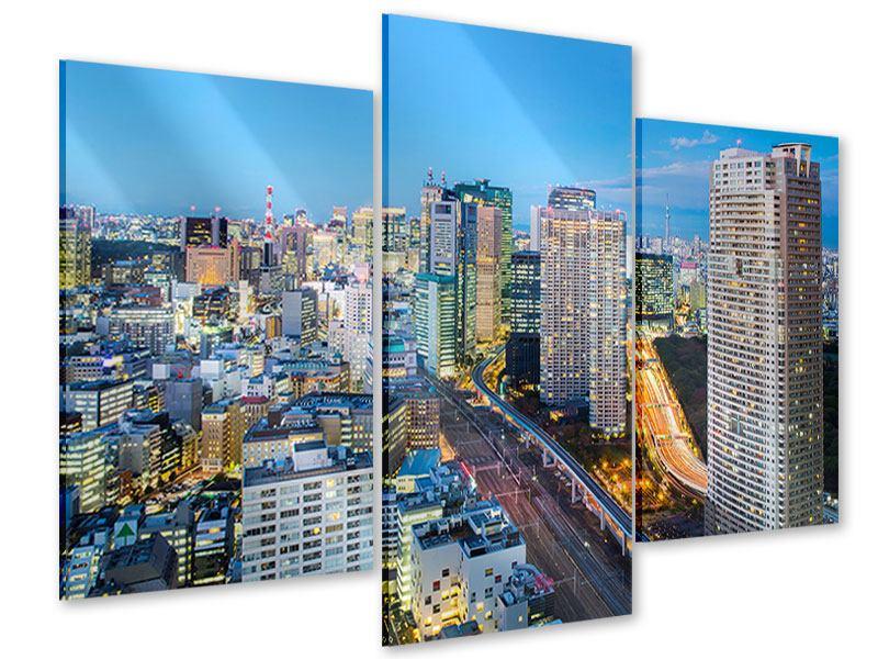 Acrylglasbild 3-teilig modern Skyline Tokio im Lichtermeer