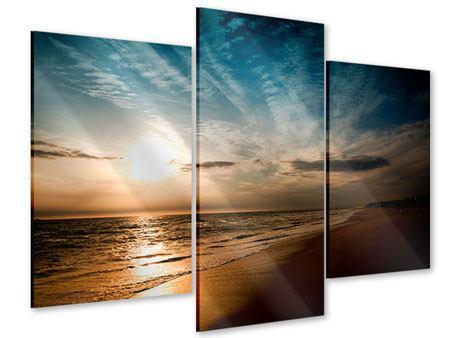 Acrylglasbild 3-teilig modern Strandspaziergang