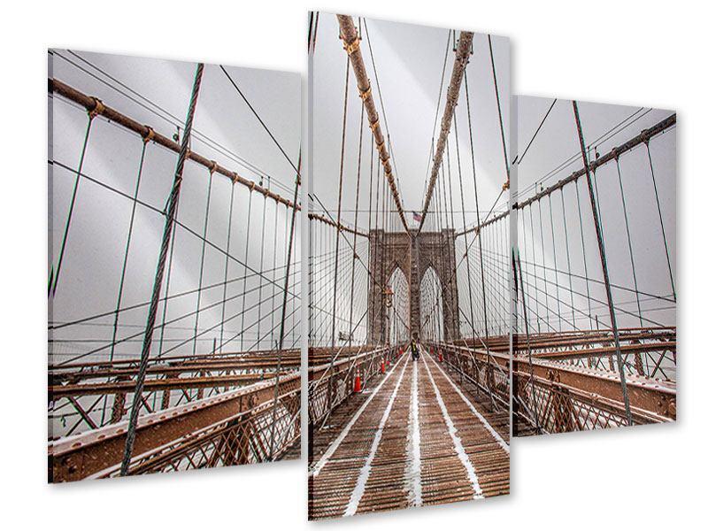 Acrylglasbild 3-teilig modern Auf der Brooklyn Bridge