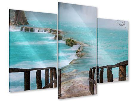 Acrylglasbild 3-teilig modern Haus am Wasserfall