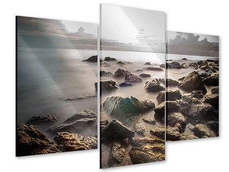 Acrylglasbild 3-teilig modern Steine am Strand