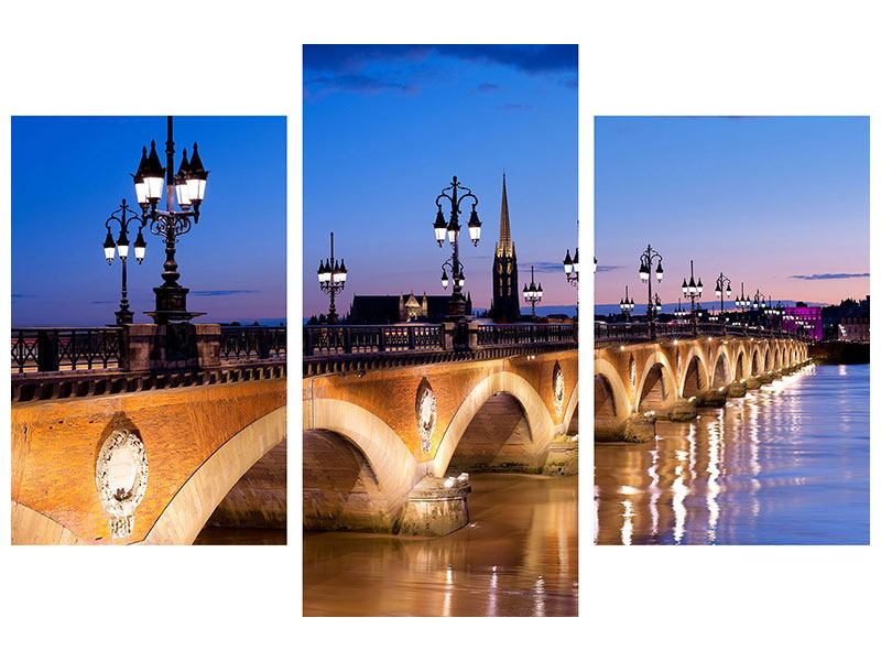 Acrylglasbild 3-teilig modern Pont De Pierre bei Sonnenuntergang