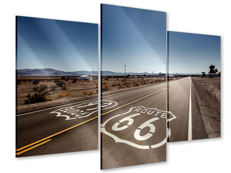 Acrylglasbild 3-teilig modern Route 66