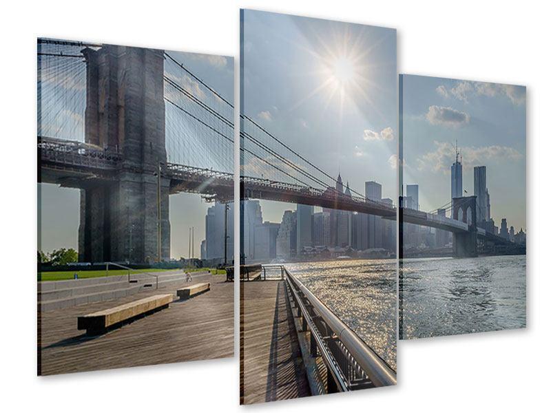 Acrylglasbild 3-teilig modern Brooklyn Bridge