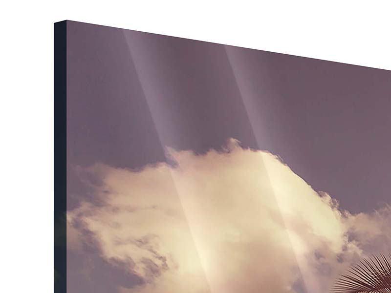 Acrylglasbild 3-teilig modern Die schiefe Palme