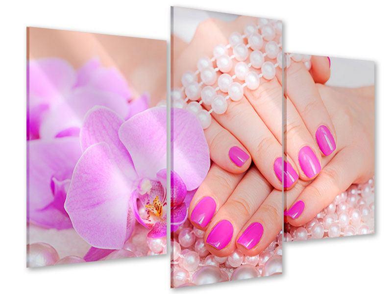 Acrylglasbild 3-teilig modern Manikürte Hände
