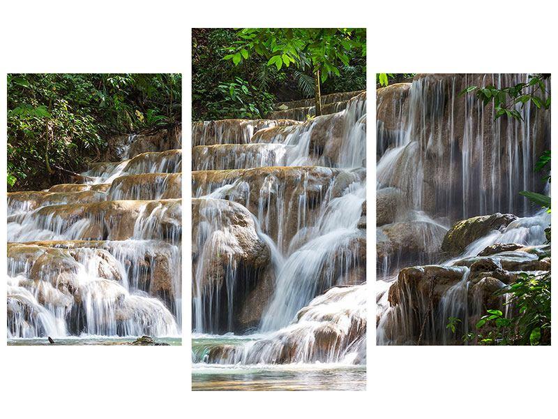 Acrylglasbild 3-teilig modern Mexikanischer Wasserfall