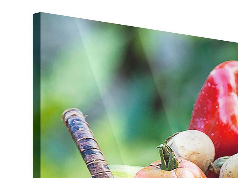 Acrylglasbild 3-teilig modern Gemüsekorb