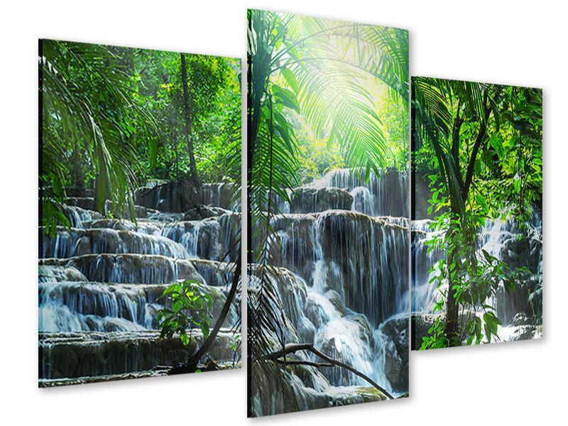Acrylglasbild 3-teilig modern Wasserfall Agua Azul