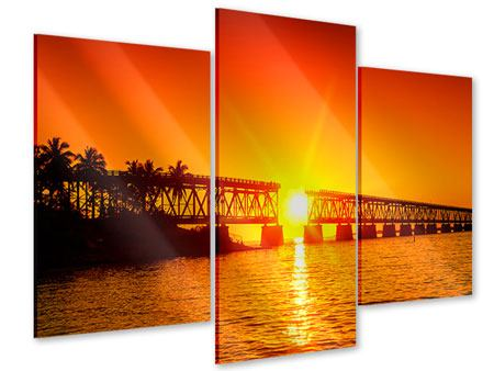 Acrylglasbild 3-teilig modern Sonnenuntergang an der Brücke