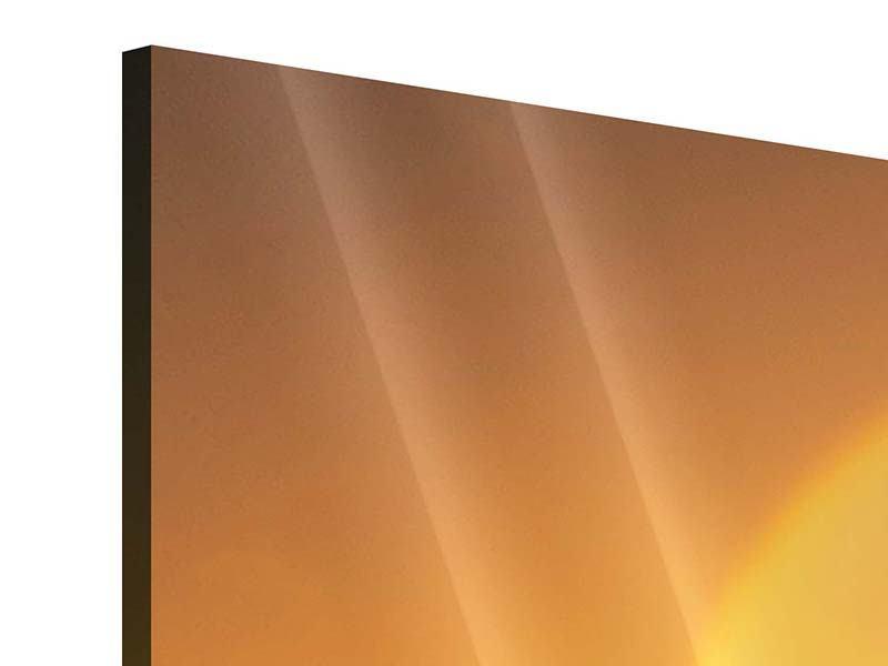 Acrylglasbild 3-teilig modern Sonnenuntergang Monument Valley