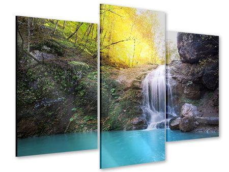 Acrylglasbild 3-teilig modern Fliessender Wasserfall