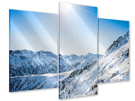 Acrylglasbild 3-teilig modern Bergpanorama im Schnee