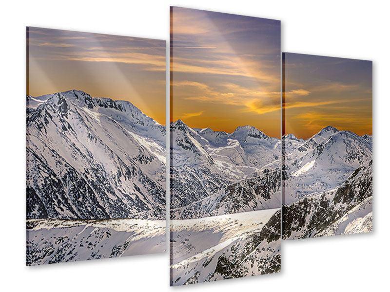 Acrylglasbild 3-teilig modern Sonnenuntergang in den Bergen