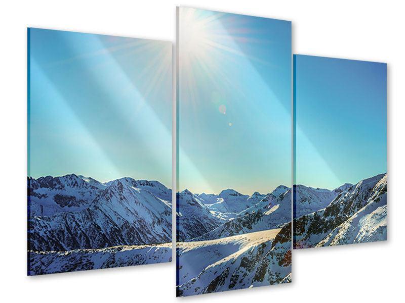 Acrylglasbild 3-teilig modern Sonnige Berggipfel im Schnee