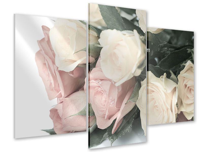 Acrylglasbild 3-teilig modern Rosenromantik