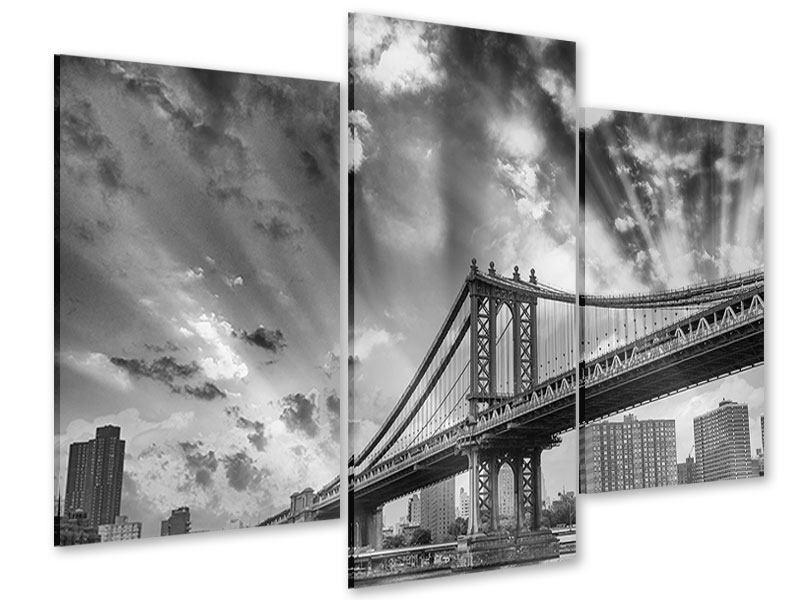 Acrylglasbild 3-teilig modern Manhattan Bridge
