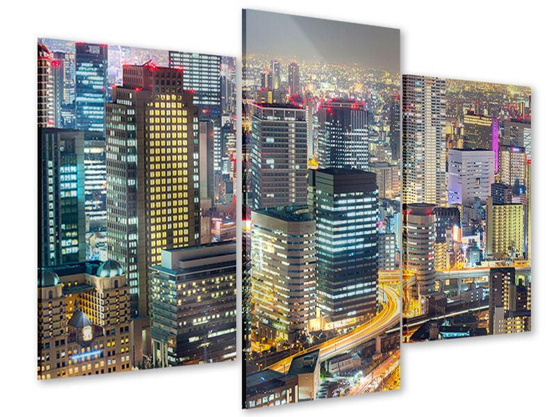 Acrylglasbild 3-teilig modern Skyline Osaka im Lichtermeer