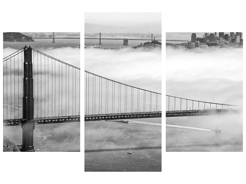 Acrylglasbild 3-teilig modern Golden Gate Brücke