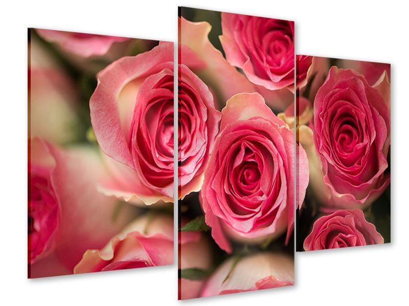 Acrylglasbild 3-teilig modern Rosenliebe