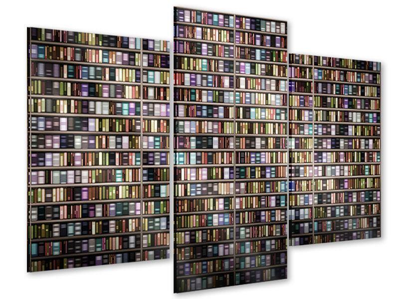 Acrylglasbild 3-teilig modern Bücherregal
