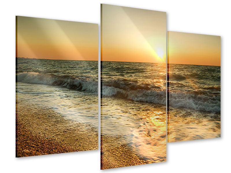Acrylglasbild 3-teilig modern Sonnenuntergang am Meer