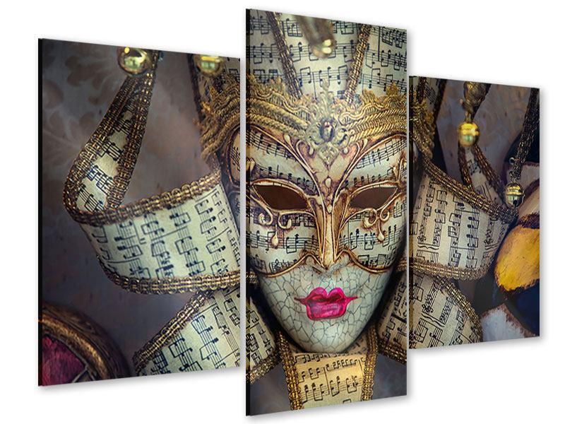 Acrylglasbild 3-teilig modern Venezianische Maske