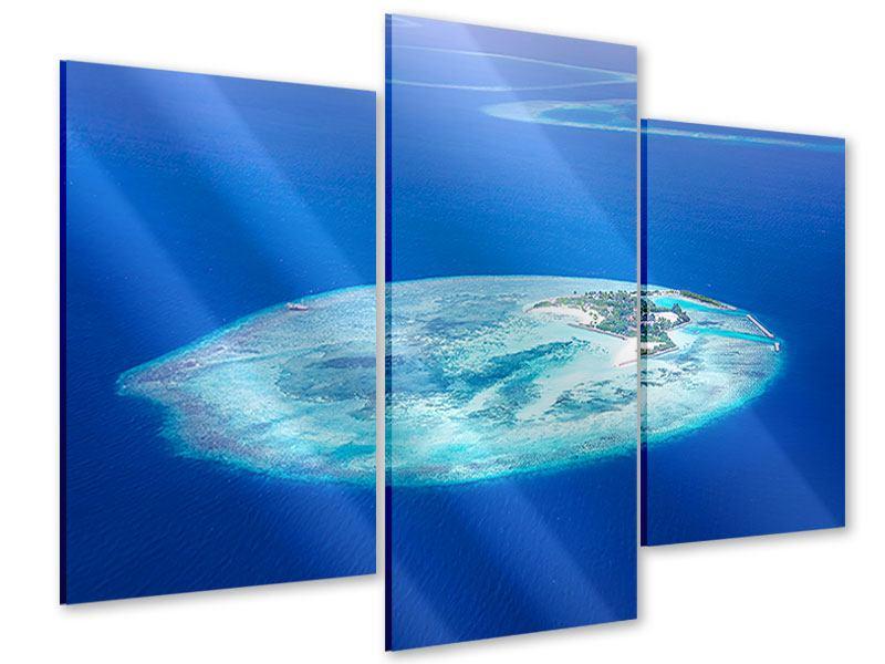 Acrylglasbild 3-teilig modern Reif für die Trauminsel