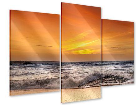Acrylglasbild 3-teilig modern See mit Sonnenuntergang