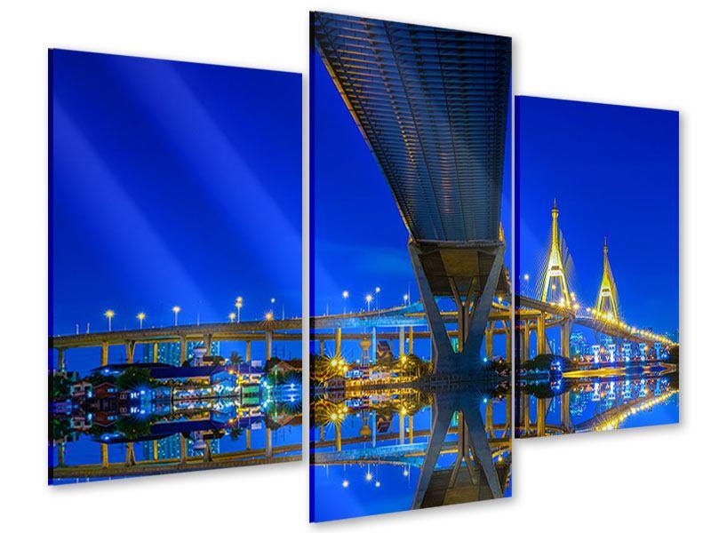 Acrylglasbild 3-teilig modern Bhumiboll-Brücke