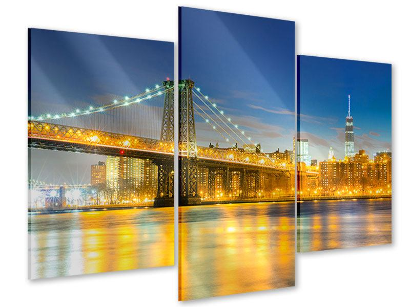 Acrylglasbild 3-teilig modern Brooklyn Bridge bei Nacht