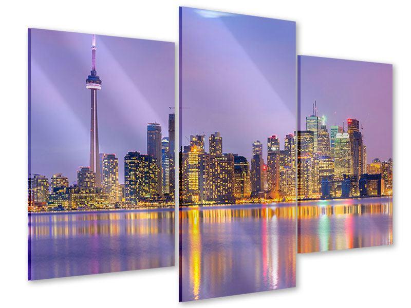 Acrylglasbild 3-teilig modern Skyline Toronto bei Nacht