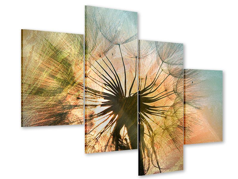 Acrylglasbild 4-teilig modern XXL Pusteblume
